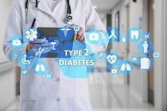 Ιατρός με το στηθοσκόπιο και τον ΤΥΠΟ - εικονίδιο διαβήτη 2 σε Medi Στοκ Εικόνες