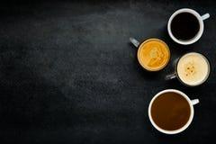 Διαφορετικοί τύποι καφέ με το διάστημα αντιγράφων Στοκ Φωτογραφίες