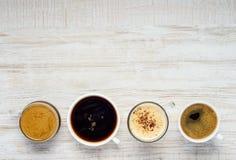 Διαφορετικοί τύποι καφέδων με το διάστημα αντιγράφων Στοκ Εικόνες