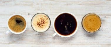 Διαφορετικοί τύποι ποτών καφέ Στοκ φωτογραφία με δικαίωμα ελεύθερης χρήσης