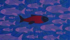 διαφορετικός σκεφτείτ&epsil Τα γενναία ψάρια τολμούν να κολυμπήσουν ενάντια στο ρεύμα διανυσματική απεικόνιση