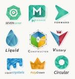 9 διαφορετικό αφηρημένο polygonal γεωμετρικό στοιχείο λογότυπων Στοκ Φωτογραφίες