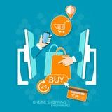 Διαδίκτυο και σε απευθείας σύνδεση αγορές έννοιας αγορών κινητές Στοκ Εικόνες