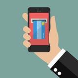 Διαδίκτυο που καταθέτει την κινητή πληρωμή σε τράπεζα Στοκ Εικόνες