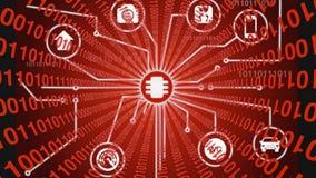 Διαδίκτυο των πραγμάτων με το κόκκινο ρεύμα στοιχείων Στοκ Φωτογραφίες