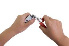 Διαδικασία της συντήρησης του ηλεκτρονικού τσιγάρου Στοκ Φωτογραφία