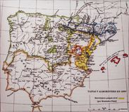 Ιβηρική χερσόνησος 1099 χάρτης από το Menendez Pidal Βασίλεια και Almoravids Taifas στοκ φωτογραφία με δικαίωμα ελεύθερης χρήσης