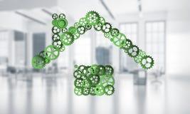 Ιδέα ακίνητων περιουσιών ή κατασκευής που παρουσιάζεται από το εγχώριο εικονίδιο στο λευκό Στοκ Εικόνα