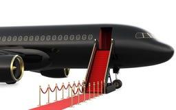 Ιδιωτικά αεριωθούμενο αεροπλάνο σκαλών και κόκκινο χαλί, τρισδιάστατη απόδοση απομονωμένος στο άσπρο υπόβαθρο Στοκ Εικόνες