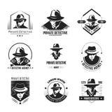 Ιδιωτικά προωθητικά μονοχρωματικά εμβλήματα ιδιωτικών αστυνομικών με το άτομο στο καπέλο ελεύθερη απεικόνιση δικαιώματος