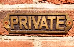 ιδιωτικό σημάδι στοκ φωτογραφία με δικαίωμα ελεύθερης χρήσης