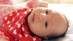Ιδιότροπο νεογέννητο κοριτσάκι περίπου στην κραυγή απόθεμα βίντεο