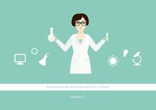 Διεθνής ημέρα των γυναικών και των κοριτσιών στο διάνυσμα επιστήμης Στοκ εικόνες με δικαίωμα ελεύθερης χρήσης