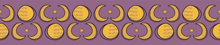 Ιερά σεληνιακά άνευ ραφής διανυσματικά σύνορα Solstice φεγγαριών διανυσματική απεικόνιση