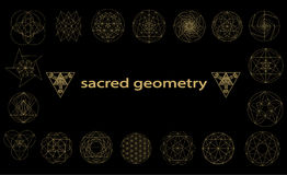 Ιερά σύμβολα γεωμετρίας και signes διανυσματική απεικόνιση Δερματοστιξία Hipster Λουλούδι του συμβόλου ζωής Στοκ φωτογραφίες με δικαίωμα ελεύθερης χρήσης