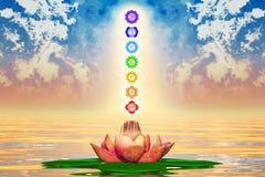 Ιερά Lotus και Chakras Στοκ εικόνα με δικαίωμα ελεύθερης χρήσης