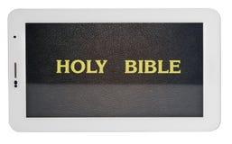 Ιερή Βίβλος στην ταμπλέτα που απομονώνεται στο άσπρο υπόβαθρο Στοκ εικόνα με δικαίωμα ελεύθερης χρήσης