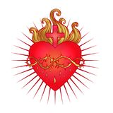 Ιερή καρδιά του Ιησού με τις ακτίνες Διανυσματική απεικόνιση στο κόκκινο και απεικόνιση αποθεμάτων