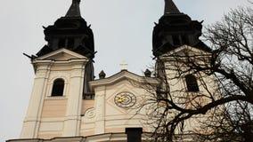 Ιερή χριστιανική εκκλησία poestlingberg στο Λιντς Άνω Αυστρία απόθεμα βίντεο