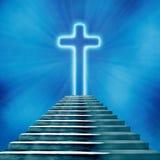 ιεροί σταυρός και σκάλα που οδηγούν στον ουρανό ή την κόλαση απεικόνιση αποθεμάτων