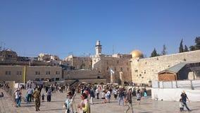 ΙΕΡΟΥΣΑΛΗΜ, ΙΣΡΑΗΛ - 31 08 2015: Ο wailing τοίχος του αρχαίου ναού του Ισραήλ στην Ιερουσαλήμ Στηριγμένος από Herod ο μεγάλος στοκ εικόνες με δικαίωμα ελεύθερης χρήσης