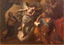 Ιερουσαλήμ - η εμφάνιση του αγγέλου στο ST Joseph στο χρώμα ονείρου στην εκκλησία του ST Ann Στοκ φωτογραφία με δικαίωμα ελεύθερης χρήσης