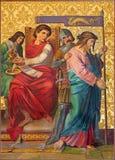Ιερουσαλήμ - η κρίση του Ιησού χρωμάτων για Pilate από το τέλος 19 σεντ Στοκ φωτογραφία με δικαίωμα ελεύθερης χρήσης