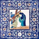 Ιερουσαλήμ - ο κεραμικός κεραμωμένος σταθμός του διαγώνιου τρόπου στην εκκλησία αγγλικανών του ST George Η Βερόνικα σκουπίζει το  στοκ φωτογραφίες με δικαίωμα ελεύθερης χρήσης