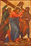 Ιερουσαλήμ - ο Χριστός κάτω από το διαγώνιο χρώμα από το τέλος 19 σεντ στην αρμενική εκκλησία της κυρίας μας του σπασμού Στοκ Εικόνες