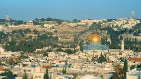 Ιερουσαλήμ, πανοραμικός πυροβοληθείς, χρυσός θόλος απόθεμα βίντεο