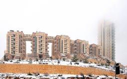 Ιερουσαλήμ που στεγάζει σύνθετο Holilend κατά τη διάρκεια χιονοπτώσεων. Στοκ εικόνα με δικαίωμα ελεύθερης χρήσης