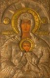 Ιερουσαλήμ - το εικονίδιο μετάλλων Madonna στην εκκλησία του ιερού τάφου Στοκ εικόνες με δικαίωμα ελεύθερης χρήσης