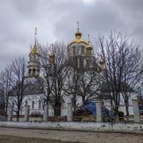 Ιερός καθεδρικός ναός τριάδας σε Kramatorsk, νεφελώδης ημέρα, Μάρτιος στοκ φωτογραφίες με δικαίωμα ελεύθερης χρήσης
