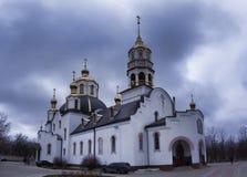 Ιερός καθεδρικός ναός τριάδας σε Kramatorsk, νεφελώδης ημέρα, Μάρτιος στοκ εικόνες με δικαίωμα ελεύθερης χρήσης