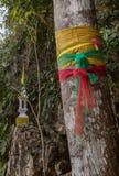 Ιερό δέντρο με τη χρωματισμένη κορδέλλα στη φύση Στοκ Εικόνα