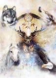 Ιερό διακοσμητικό πνεύμα ελαφιών με catcher ονείρου το σύμβολο και τα φτερά και λύκος, άλογο, αετός στο κοσμικό διάστημα απεικόνιση αποθεμάτων
