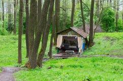 Ιερό ελατήριο στο δάσος κοντά στο χωριό Sherstin, Λευκορωσία Στοκ Φωτογραφία
