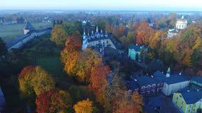 Ιερό μοναστήρι Dormition pskovo-Pechersky, πρωί Οκτωβρίου Pechora, Ρωσία απόθεμα βίντεο