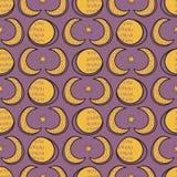 Ιερό σεληνιακό άνευ ραφής διανυσματικό σχέδιο Solstice φεγγαριών απεικόνιση αποθεμάτων