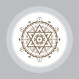 Ιερό σημάδι γεωμετρίας Αφηρημένο διανυσματικό πρότυπο Απόκρυφο διανυσματικό διακριτικό Στοκ Φωτογραφία
