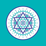 Ιερό σημάδι γεωμετρίας Αφηρημένο διανυσματικό πρότυπο Απόκρυφο διανυσματικό διακριτικό Hexagon λογότυπο Στοκ φωτογραφία με δικαίωμα ελεύθερης χρήσης
