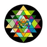 Ιερό σύμβολο Sri Yantra γεωμετρίας και αλχημείας Συρμένο χέρι σκίτσο για το σχέδιό σας διανυσματική απεικόνιση