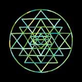 Ιερό σύμβολο Sri Yantra γεωμετρίας και αλχημείας Συρμένο χέρι σκίτσο για το σχέδιό σας απεικόνιση αποθεμάτων