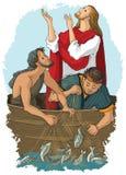 Ιησούς και η θαυμαστή σύλληψη των ψαριών Στοκ εικόνα με δικαίωμα ελεύθερης χρήσης