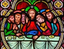 Ιησούς και οι απόστολοι στο τελευταίο βραδυνό στη Μεγάλη Πέμπτη στοκ εικόνες