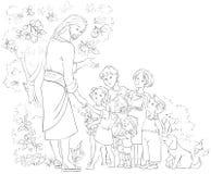 Ιησούς με τα παιδιά που χρωματίζουν τη σελίδα απεικόνιση αποθεμάτων