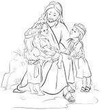 Ιησούς με τα παιδιά Χρωματίζοντας σελίδα Στοκ Φωτογραφία
