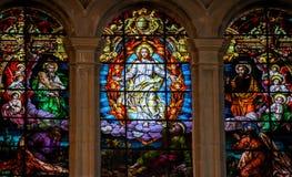 Ιησούς, Μωυσής και Saint-Paul - λεκιασμένο γυαλί στοκ φωτογραφία
