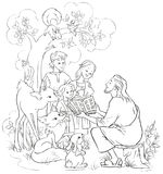 Ιησούς που διαβάζει τη Βίβλο στα παιδιά και τα ζώα Χρωματίζοντας σελίδα Στοκ Φωτογραφίες