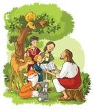 Ιησούς που διαβάζει τη Βίβλο στα παιδιά και τα ζώα Στοκ Φωτογραφίες